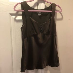 Ann Taylor Silk Chocolate Brown Wide strap Tank 4
